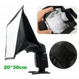 Softbox Flash Difuzer universal pentru flash  blitz extern marime 20cm X 30cm., Altul
