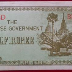 Bancnota istorica 1/2 Rupie - Ocupatie Japoneza, anul 1942 *Cod 547 c -- a.UNC - bancnota asia