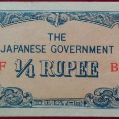 Bancnota istorica 1/4 Rupie - Ocupatie Japoneza, anul 1942 *Cod 547 D --- a.UNC - bancnota asia