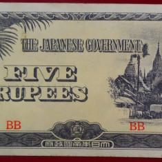 Bancnota istorica 5 Rupii BURMA BIRMANIA - Ocupatie Japoneza, anul 1942 *Cod 557 - bancnota asia