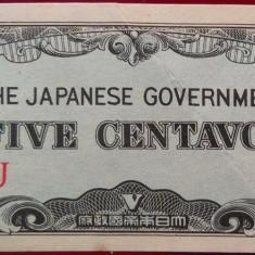 Bancnota istorica 5 Centavos- FILIPINE / Ocupatie Japoneza, anul 1942 *Cod 547 A - bancnota asia