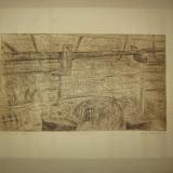 """GRAVURA MARIETA BESU TITOIU- """"MUZEUL SATULUI"""" - Pictor roman, Abstract, Cerneala"""