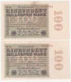 (1) 2 BANCNOTE GERMANIA - 100 MILLIONEN MARK 22.08.1923 - SERII CONSECUTIVE