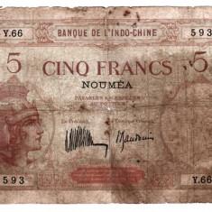 NOUA CALEDONIE 5 francs ND 1926 stare slabă