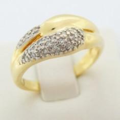 P - Inel aur 18k, 750, diamante de cca. 0.10 ct, 5.23 grame, Culoare: Galben