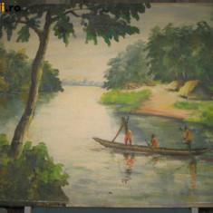 TABLOURI VECHI ULEI3.Peisaj pictor african-N-Kulv cu vaslasi in canoe perau U/P.