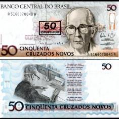 BRAZILIA- 50 DE CRUZEIROS PE 50 DE CRUZADOS 1990- P223- UNC!! - bancnota america