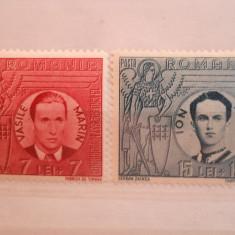 1942 lp 142 iii vasile marin si ion mota - Timbre Romania, Nestampilat