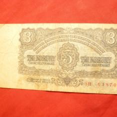 Bancnota 3 koroane Cehoslovacia 1961, cal. medie - bancnota europa