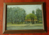 Tablou rama de lemn cu sticla - pictura in ulei , semnat - 1983 peisaj Herastrau, Peisaje, Realism