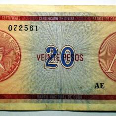 182 CUBA FOREIGN EXCHANGE CERTIFICATES 20 PESOS ND 1985 A SR. 561