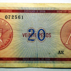 182 CUBA FOREIGN EXCHANGE CERTIFICATES 20 PESOS ND 1985 A SR. 561 - bancnota america