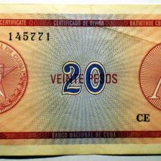 180 CUBA FOREIGN EXCHANGE CERTIFICATES 20 PESOS ND 1985 A SR. 771