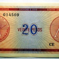 183 CUBA FOREIGN EXCHANGE CERTIFICATES 20 PESOS ND 1985 A SR. 509