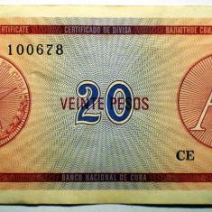 185 CUBA FOREIGN EXCHANGE CERTIFICATES 20 PESOS ND 1985 A SR. 678