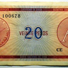 185 CUBA FOREIGN EXCHANGE CERTIFICATES 20 PESOS ND 1985 A SR. 678 - bancnota america