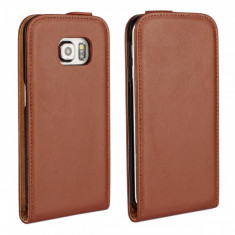 Husa maro flip piele eco Samsung Galaxy S6 EDGE + folie protectie ecran