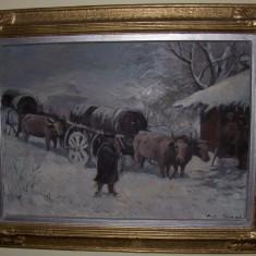 Tablou-Car cu boi iarna