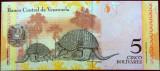 Bancnota exotica 5 BOLIVARI - VENEZUELA, anul 2008   * Cod 756 = necirculata