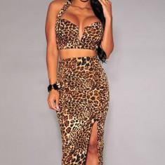 L360-99 Compleu sexy model animal print, din top scurt cu decolteu in V si fusta midi cu talie inalta - Top dama, Marime: M