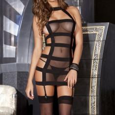 X193 Lenjerie sexy femei cu benzi elastice si plasa - Dres, Marime: M