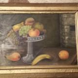Tablou -Fructiera semnat Kientz - Pictor strain, Natura statica, Ulei, Realism