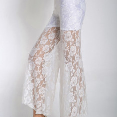CL371-2 Pantaloni largi cu dantela transparenta - Pantaloni dama, Marime: S