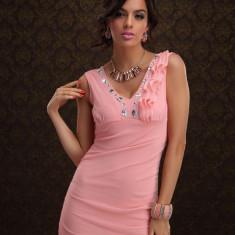 T230-5 Rochie sexy de club, accesorizata cu pietricele - Rochie de club, Marime: S/M, Roz, Scurta