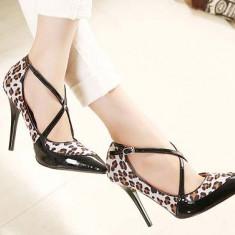 CH2293-99 Pantofi stiletto eleganti model animal print, cu barete in X, in fata - Pantof dama, Marime: 37, 38, Cu toc