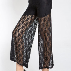 CL371-1 Pantaloni largi cu dantela transparenta - Pantaloni dama, Marime: S