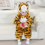 CLD37 Salopeta tigru pentru copii cu material dublu polar - Costum copii