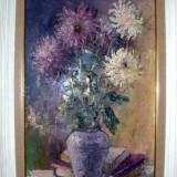 Tablou-Crizanteme semnat Maria Frânculescu - Pictor roman, Flori, Ulei, Realism