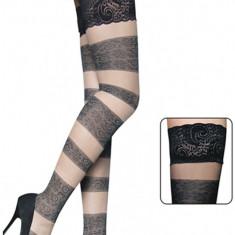 STK27 Ciorapi cu dungi si model floral - Sosete dama, Marime: Marime universala