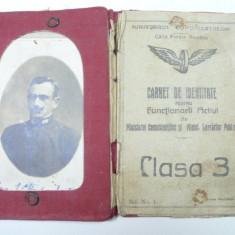CFR - CARNET DE IDENTITATE PENTRU FUNCTIONARI PUBLICI - CLASA 3 - ANUL 1924 - Pasaport/Document