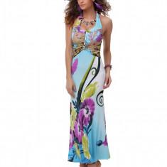 RV167-48 Rochie lunga de vara cu model colorat - Rochie de zi, Marime: S/M, Din imagine, Cu bretele, Poliester