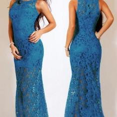 Q346-4 Rochie lunga eleganta de ocazie cu dantela - Rochie ocazie, Marime: M, Albastru, Maxi