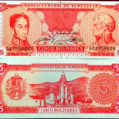 Bancnota 5 Bolivari - VENEZUELA, anul 1989 UNC