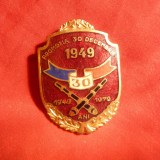 Insigna 30 Ani Promotia 1949 a Scolii Artilerie, h= 4, 3 cm, metal si email