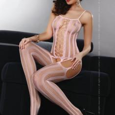 Livia Corsetti 64-5 Lenjerie bodystocking cu dungi pe picior si decupaje - Lenjerie sexy dama LIVIA CORSETTI, Marime: Marime universala
