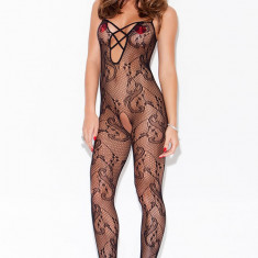BS194-1 Bodystocking sexy cu model floral - Lenjerie sexy dama, Marime: S/M