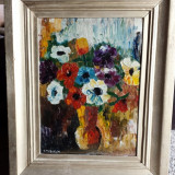 Tablou -Vaza cu flori semnat Tudoran - Pictor roman, Ulei, Abstract
