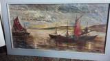 Tablou-Barci cu vele, Marine, Ulei, Realism