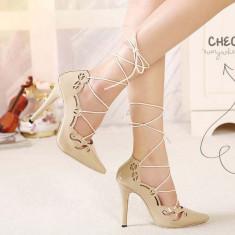 CH2283-15 Pantofi cu toc inalt si prindere cu sireturi - Pantof dama, Marime: 36