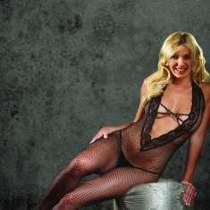J37 Lenjerie Dama Body Plasa - Lenjerie sexy dama, Marime: Marime universala, Negru