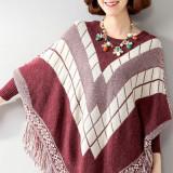 BL498-3 Bluza tricotata tip poncho, cu model si ciucurei