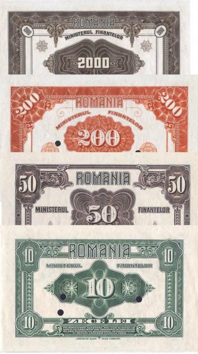 Romania 10, 50, 200, 2000 Lei 1920 Emisiuni Ferdinand Reproduceri