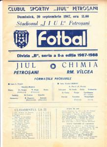 Program meci fotbal JIUL PETROSANI - CHIMIA RM. VILCEA (20.09.1987)