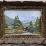 Tablou mini peisaj montan, ulei pe panza, semnat - Pictor roman, Natura, Miniatural