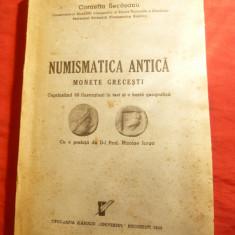 C.C.Secasanu - Numismatica Antica - Monede Grecesti 1939, dedicatie si autograf