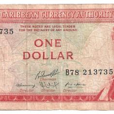 EAST CARIBBEAN CARAIBE CURRENCY AUTHORITY 1 DOLLAR ND(1965) U - bancnota america